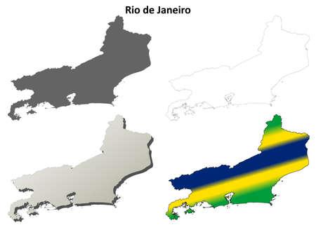 janeiro: Rio de Janeiro blank detailed vector outline map set