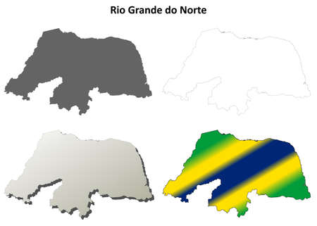 natal: Rio Grande do Norte blank detailed vector outline map set