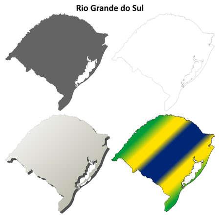 southern: Rio Grande do Sul blank detailed vector outline map set