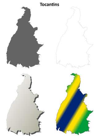 detailed: Tocantins blank detailed vector outline map set
