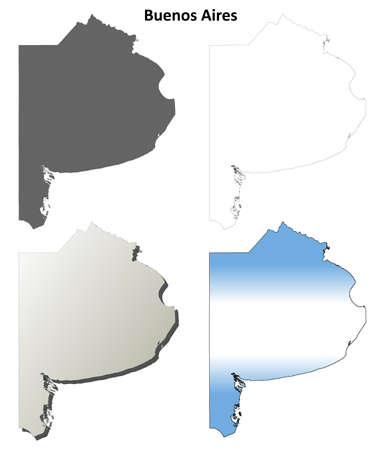 province: Buenos Aires blank vector outline map set