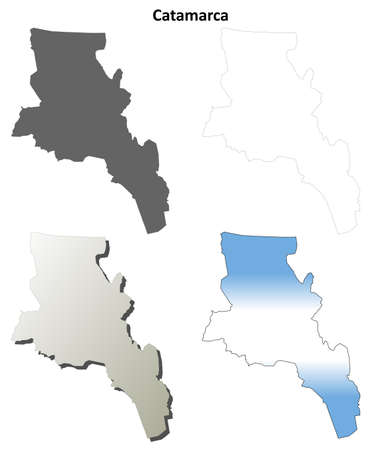 san fernando valley: Catamarca province blank vector outline map set