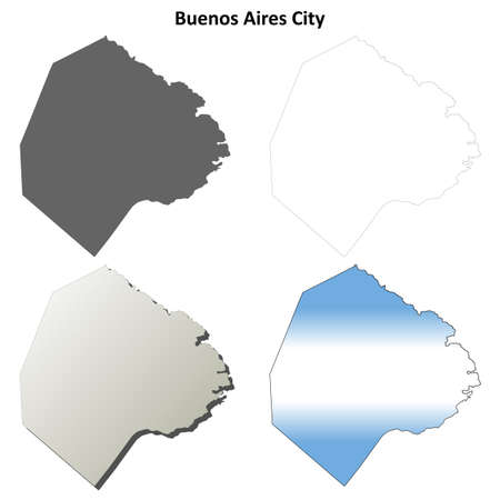 buenos aires: Buenos Aires City province blank vector outline map set