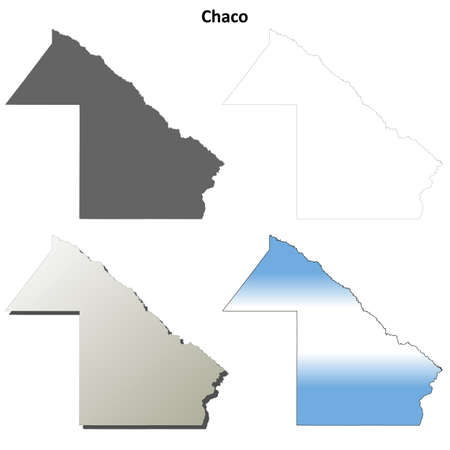 chaco: Chaco province blank vector outline map set