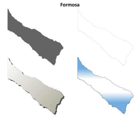 formosa: Formosa province blank vector outline map set Illustration