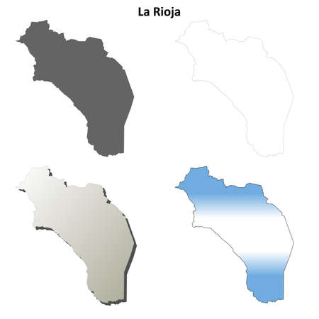 la: La Rioja province blank vector outline map set