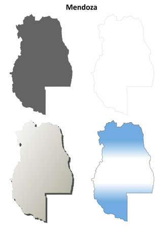 Mendoza province blank vector outline map set