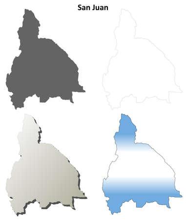 san juan: San Juan province blank vector outline map set