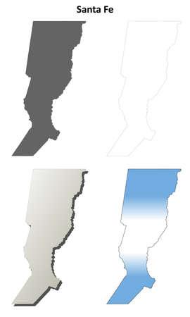 Santa Fe province blank vector outline map set