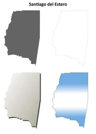 santiago: Santiago del Estero province blank vector outline map set