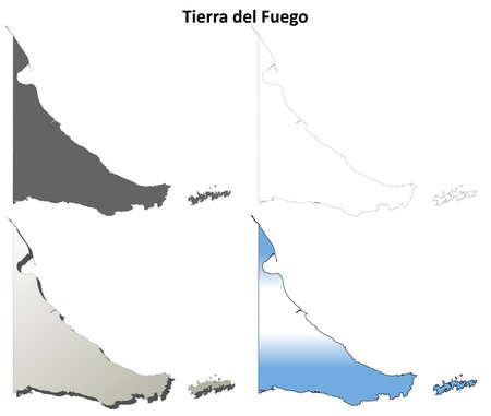 coastlines: Tierra del Fuego province blank vector outline map set
