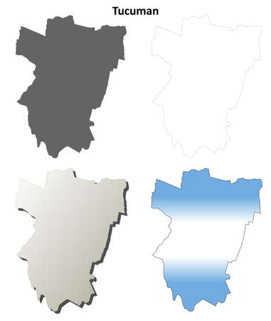province: Tucuman province blank vector outline map set