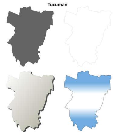 prov�ncia: Tucuman province blank vector outline map set