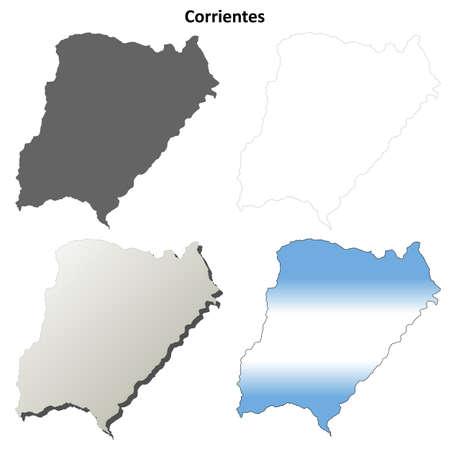 corrientes: Corrientes province blank vector outline map set