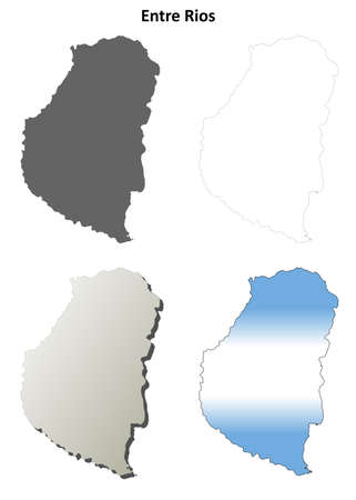 between: Entre Rios province blank vector outline map set