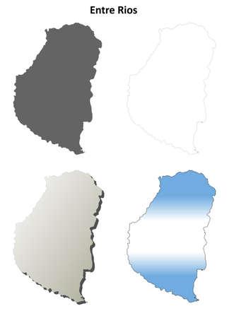 Entre Rios province blank vector outline map set