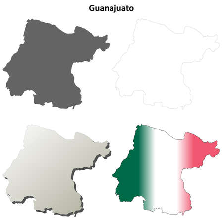 outline map: Guanajuato state blank vector outline map set