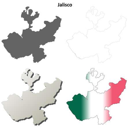 guadalajara: Jalisco state blank vector outline map set