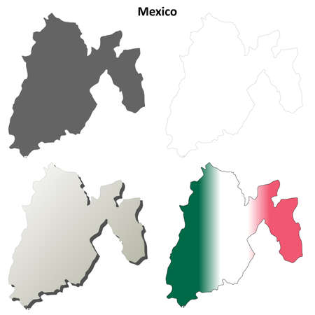 morelos: Mexico state blank vector outline map set Illustration