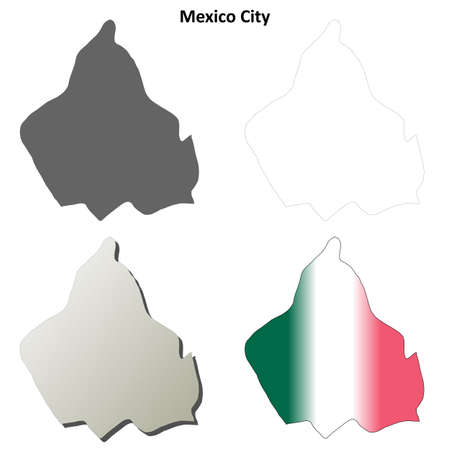mexico: Mexico City blank vector outline map set