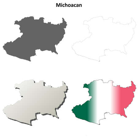 Michoacan state blank vector outline map set