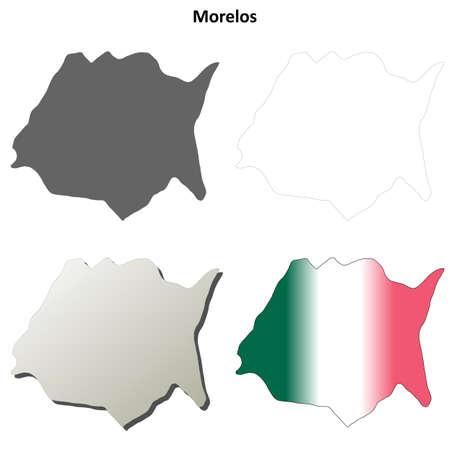 morelos: Morelos state blank vector outline map set