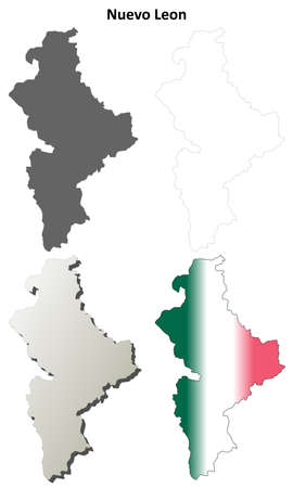 leon: Nuevo Leon state blank vector outline map set Illustration