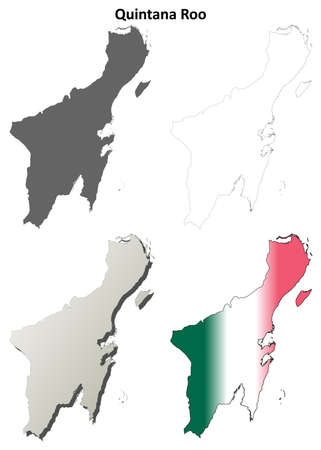 roo: Quintana Roo state blank vector outline map set
