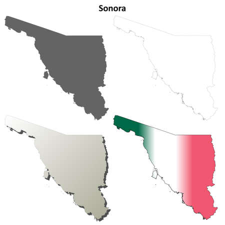 sonora: Sonora state blank vector outline map set