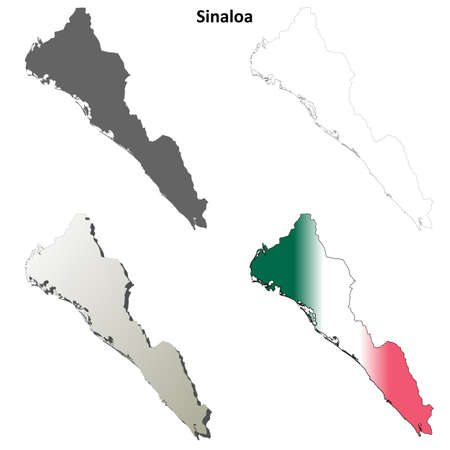 rosales: Sinaloa state blank vector outline map set