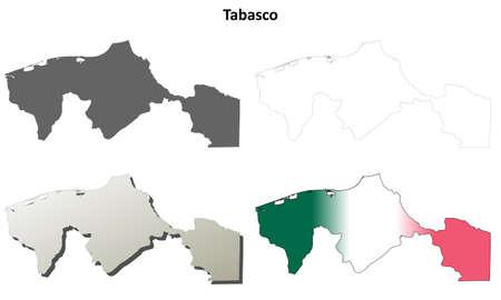 tabasco: Tabasco state blank vector outline map set Illustration