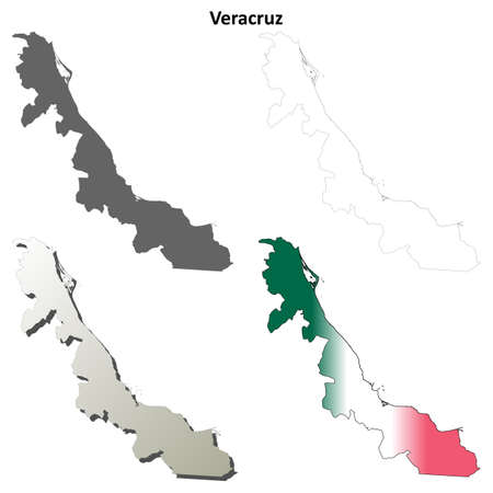 Veracruz State Blank Vector Outline Map Set Royalty Free Cliparts - Veracruz on us map