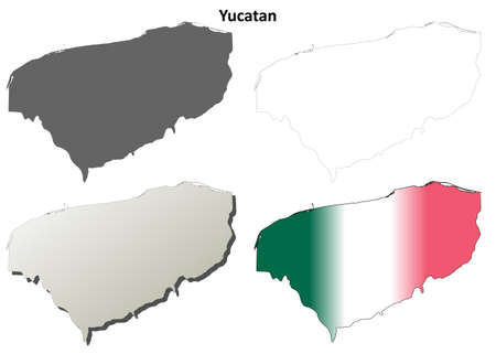 yucatan: Yucatan state blank vector outline map set
