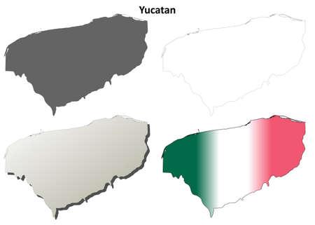 yucatan: Yucatan state blank vector outline map set