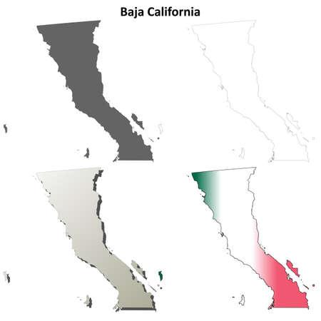 estado de Baja California blanco vector conjunto mapa de contorno