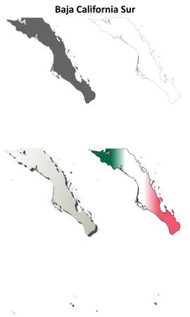 Baja California Sur blank outline map set