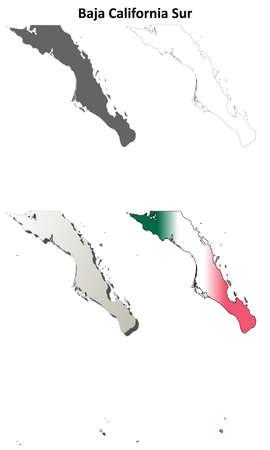 Baja California Sur blank outline map set