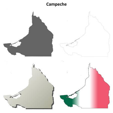 coastlines: Campeche state blank vector outline map set