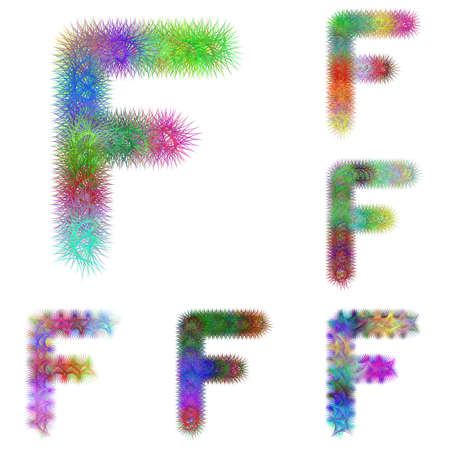 letter f: Happy colorful fractal font design set - letter F