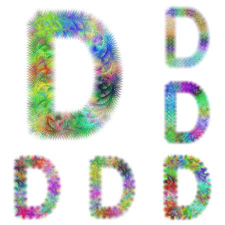 d mark: Happy colorful fractal font design set - letter D