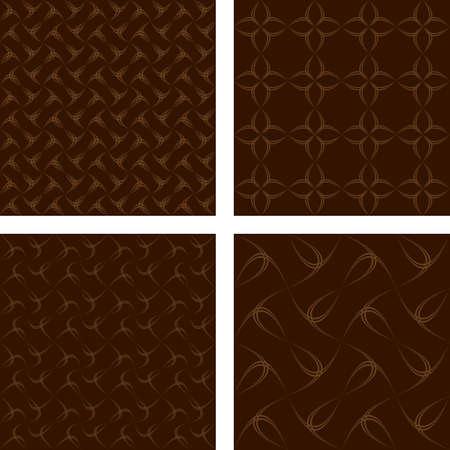 dark brown: Dark brown abstract seamless pattern background set