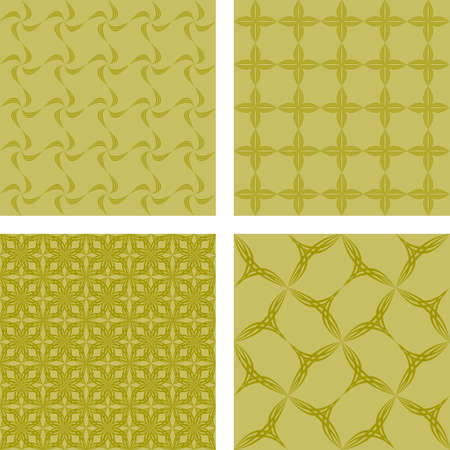 Yellow retro abstract seamless pattern background set Illustration