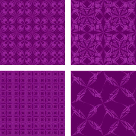 Dark magenta retro abstract seamless pattern background set