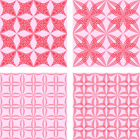 Red seamless vector pattern design background set
