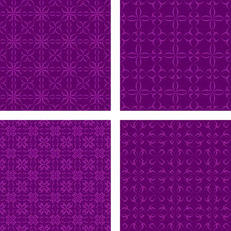 Dark purple abstract seamless pattern background set Illustration