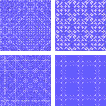 Blue seamless abstract pattern design background set