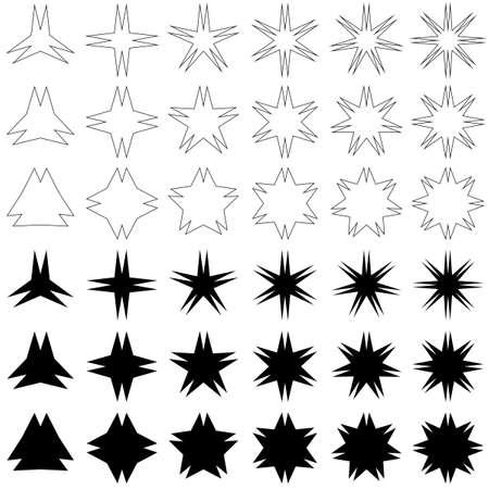 peak: Double peak star shape symbol design set