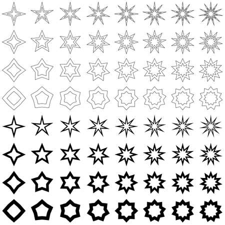 Black star shape vector icon template collection