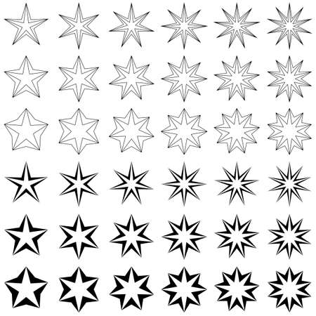 Black star shape icon template design set