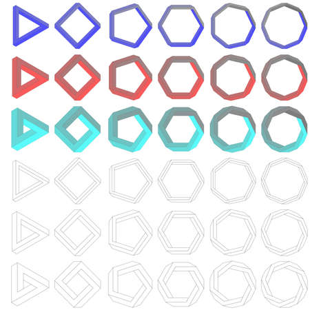heptagon: Collection of impossible optical illusion Penrose polygons
